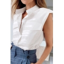 Womens Shirt Fashionable Solid Color Flap Chest Pockets Shoulder Pad Button Detail Stand Collar Sleeveless Slim Fitted Shirt