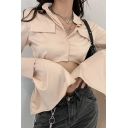 Classic Womens Shirt Plain Patch Pocket Button up Cropped Stand Collar Long Flared Cuff Sleeve Regular Fit Shirt
