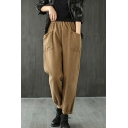 Novelty Womens Pants Plain Cotton Twill Brushed Front Double-Pocket Elastic Waist Gathered Cuffs Regular Fit 7/8 Length Tapered Relaxed Pants