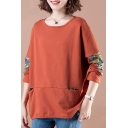 Basic Womens T-Shirt Colorblock Print Patchwork Invisible Pocket Loose Round Neck Long Sleeve Tee Top
