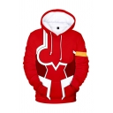Novelty Mens 3D Hoodie Contrast Anime Zero Two Drawstring Regular Fitted Long Sleeve Hoodie