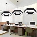 Black Hexagonal LED Pendant Light Contemporary Acrylic LED Hanging Lamp Kit for Office