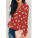 Womens Trendy Allover Heart Printed V-Neck Long Sleeve Casual Blouse