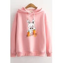Womens Hoodie Creative Rabbit Japanese Letter Print Cuffed Drawstring Long Sleeve Relaxed Fitted Thickened Hoodie