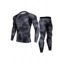 Retro Mens Workout Co-ords Abstract Geometric Pattern Quick-Dry Long Sleeve Round Neck Tee Slim Fitted Pants Co-ords