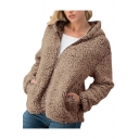 Womens New Stylish Simple Plain Lamb Fluffy Long Sleeve Zip Up Fitted Hoodie