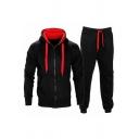 Novelty Mens Co-ords Zipper down Drawstring Long Sleeve Contrast Hooded Sweatshirt Full Length Pants Slim Fit Jogger Co-ords