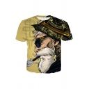 3D Printing Round Neck Short Sleeve Khaki T-Shirt