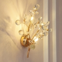 Gold Beaded Wall Mount Lighting Modern 2/3-Light Beveled Crystal Wall Light Sconce with Branch Design for Bedside