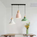Black/Pink Shaded Cluster Pendant Macaron 3 Lights Metal Round/Linear-Canopy Suspension Lighting with Wood Cork