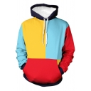 Retro Mens Hoodie Color Block Drawstring Kangaroo Pocket Loose Fit Long Sleeve Hooded Sweatshirt