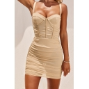 Novelty Womens Dress Invisible Zipper Back See-Through Mesh Sweetheart Neck Strap Sleeveless Slim Fitted Mini Bodycon Dress