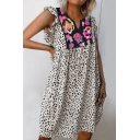 Youthful Women's Swing Dress Floral Patchwork All over Leopard Printed V Neck Butterfly Sleeve Swing Dress