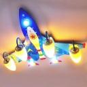 Cartoon 4 Heads Flush Ceiling Light Blue Jet Shaped Flushmount with Acrylic Shade for Boys Room