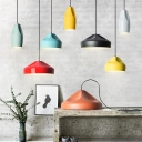 Bullet/Tapered Shade Hanging Pendant Macaron Aluminum 1-Light Black/Yellow/Green Ceiling Light with Dimple Design