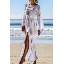 Stylish Womens Maxi Pullover Dress Square Cutouts Crochet Tie-up Boat Neck Full Flared Sleeve Cardigan with Slit