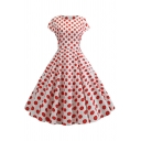 Novelty Womens Dress Polka Dot Print Short Sleeve Waist Controlled Midi A-Line Slim Fitted Round Neck Swing Dress