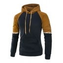 Mens Simple Letter Printed Colorblock Patched Long Sleeve Sport Fitted Hoodie