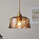 Single Amber Cloud Glass Pendant Light Antique Brass Short Cylinder Dining Table Hanging Light Fixture