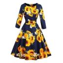 Vintage Womens Dress Sunflower Daisy Pattern Zipper Back Tie Waist Midi A-Line Slim Fitted Round Neck 3/4 Sleeve Swing Dress