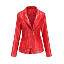 Creative Womens Jacket Plain Zipper Embellished Slim Fit Long Sleeve Notched Lapel Collar Leather Jacket