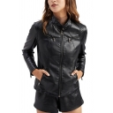 Retro Womens Jacket Plain Panel Zipper down Slim Fit Long Sleeve Stand Collar Leather Jacket