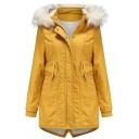 Womens Parkas Stylish Split Back Hem Fur-Trimmed Hood Thick Drawstring Waist Mid-Length Zipper up Slim Fit Long Sleeve Parkas