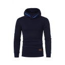 Trendy Mens Plain Long Sleeve Pouch Pocket Casual Pullover Hoodie