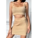 Retro Womens Co-ords Solid Color Scoop Neck Rib Knit Strap Slim Fitted Skirt Sleeveless Camisole Co-ords