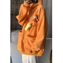 Basic Womens Hoodie Yellow-Duck Bear Decoration Front Double Pockets Drawstring Long Drop-Sleeve Relaxed Fitted Hooded Sweatshirt