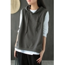 Womens Vest Trendy Solid Color Chest Pocket Drawstring Sleeveless Relaxed Fitted Hooded Vest