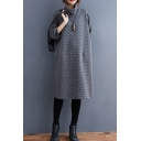 Leisure Sweatshirt Dress Solid Color Flannel High Neck Long-sleeved Relaxed Fit Knee Length Sweatshirt Dress for Women