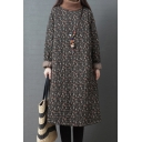 All-Match Women's Sweatshirt Dress All over Floral Printed Contrast Trim Pocket Detail Turtleneck Long-sleeved Relaxed Fitted Midi Sweatshirt Dress