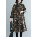 Tribal Style Women's Coat All over Print Button-down Brushed Cotton and Linen Stand Collar Long Sleeves Regular Fitted Coat