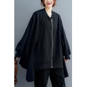 Stylish Jacket Solid Color Contrast Trim Asymmetrical Side Slit Zip Fly Flap Pockets Collarless Long Batwing Sleeves Oversized Jacket for Women