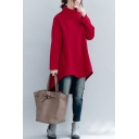 Leisure Women's Sweatshirt Solid Color Brushed Asymmetrical Mock Neck Long-sleeved Oversized Sweatshirt