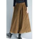 Leisure Pants Solid Color Big Pockets Elastic High Waist Ankle Length Plus Size Pants for Women