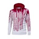 Unisex Drawstring Hooded Color Block Printed Long Sleeve Hoodie Sweatshirt