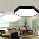 Hexagon LED Hanging Ceiling Light Minimalist Acrylic Black/White Drop Pendant for Dining Room, 16