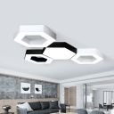 Creative Modern LED Flush Mount Lamp White/Black Honeycomb Ceiling Lighting with Acrylic Shade, 16