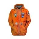 Trendy Astronaut NASA Logo Printed Long Sleeve Zip Up Orange Hoodie