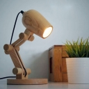 Wood Robot Adjustable Table Lamp Modern Brown LED Night Stand Light for Kids Room