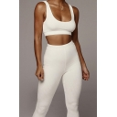 Womens Co-ords Chic Plain Seamless Knit Sleeveless Scoop Neck Cropped Tank Top Slim Fitted Pants Co-ords