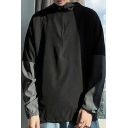 Classic Mens Sweatshirt Zipper Detail Panel Drawstring Relaxed Fitted Long Contrast-Sleeve Hoodie