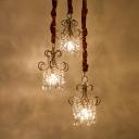 Cascading Crystal Hanging Pendant Modernity 3-Light Gold Multi Ceiling Light for Dining Room