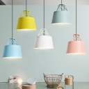Aluminum Frustum Hanging Light Kit Macaron 1-Light Pink/Blue/Yellow Ceiling Lamp with Wire Decoration for Snack Bar