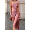 Vintage Womens Dress Solid Color Tie-Strap Asymmetric Hem Slim Fitted Backless A-Line Sleeveless Midi Slip Dress