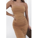 Womens Dress Chic Plain Ruched Spaghetti Strap Sleeveless Slim Fitted Square Neck Maxi Bodycon Dress