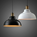1-Light Metal Ceiling Hang Lamp Industrial Black/White Finish Bowl Dining Room Pendant Light