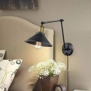 Metal Cone Swing-Arm Wall Light Industrial 1 Head Bedroom Wall Mount Lamp with/without Plug-in Cord in Black